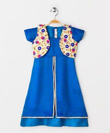 The Little Fashionistas One Piece Double Layered Flared Dress With Embroidered Jacket -Blue & Beige