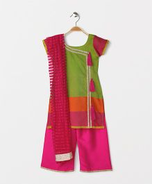 The Little Fashionistas Angarakha Style Kurti With Flarred Palazzo & Dupatta -Green & Pink