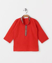 The Little Fashionistas Mangalgiri Kurti With Contrast Border Neckline -Orange