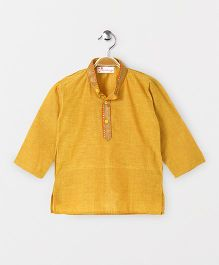 The Little Fashionistas Mangalgiri Kurta With Contrast Border Neckline -Yellow