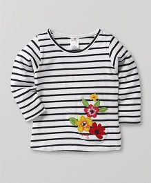 Smarty Full Sleeves Striped T-Shirt Floral Embroidery - White & Black