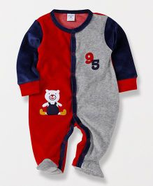 Wonderchild Full Sleeves Teddy Applique Footie - Red & Navy