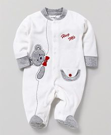 Wonderchild Teddy Applique Footie - White