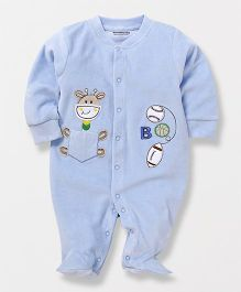 Wonderchild Full Sleeves Giraffee Applique Footed Romper - Blue