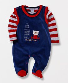 Wonderchild Teddy Footie With Striped T-Shirt - Red & Navy
