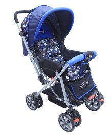 Notty Ride Pram Cum Stroller Dots Print - Blue Black