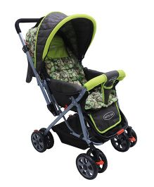 Notty Ride Pram Cum Stroller Dots Print - Green Black