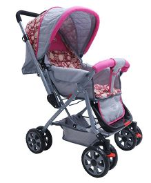 Notty Ride Pram Cum Stroller Dots Print - Pink Grey