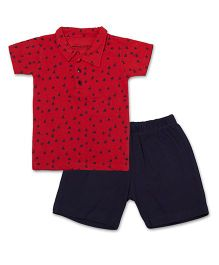 Earth Conscious Organic Cotton Half Sleeves Polo T-Shirt & Shorts Set - Red Navy