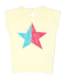 Pepe Jeans Short Sleeves Top Star Print - Yellow