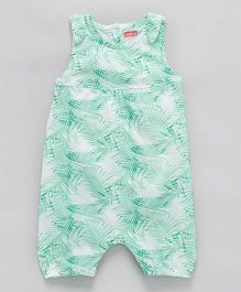 Babyhug Sleeveless Romper Leaf Print - Green