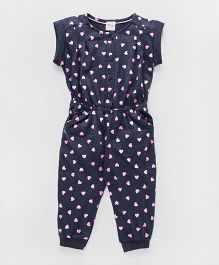 Babyhug Short Sleeves Jumpsuit Heart Print - Navy Blue