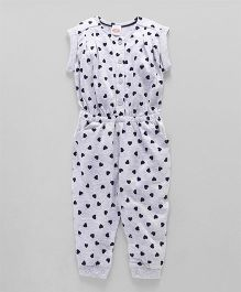 Babyhug Short Sleeves Jumpsuit Heart Print - Light Grey