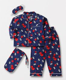 White Rabbit Strawberry Print Night Suit With Eye Mask - Navy