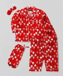 White Rabbit Balloons Print Night Suit With Eye Mask - Red