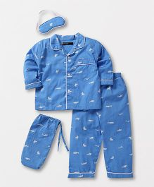 White Rabbit Shark Print Night Suit - Blue