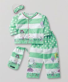 White Rabbit Doll Print Night Suit With Eye Mask - Green