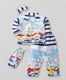 White Rabbit Boat Print Night Suit With Eye Mask - Multicolor