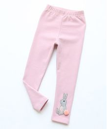 Pre Order - Awabox Rabbit Applique Leggings - Pink
