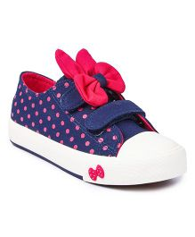 Nfive Polka Dot Sneakers With Bow - Blue