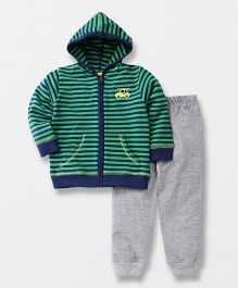 ToffyHouse Hooded Sweat Jacket And Lounge Pant Car Embroidery - Green Grey