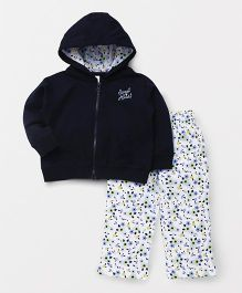ToffyHouse Hooded Winter Wear Jacket & Pant Set - Navy Blue