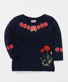 Button Noses Full Sleeves Top Flowers Print - Navy Blue
