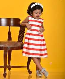 Birthdaywala Dress Fit & Flare Stripe Dress - Red & White