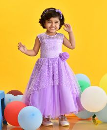 Birthdaywala Dress Pearl Applique Fit & Flare Gown - Lavender
