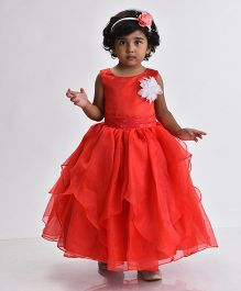Birthdaywala Dress Fit & Flare Panel Flower Applique Gown - Red