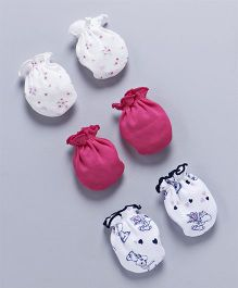 Ben Benny Printed & Plain Mittens Set of 3 - Fuchsia White