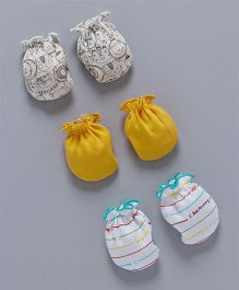 Ben Benny Printed & Plain Mittens Set of 3 - Yellow White