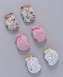 Ben Benny Printed & Plain Mittens Set of 3 - Pink White