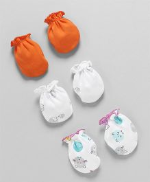 Ben Benny Printed & Plain Mittens Set of 3 - Orange White