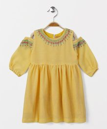 Yellow Duck Embroidered Cold Shoulder Frock - Yellow