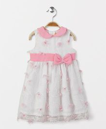Yellow Duck Sleeveless Peter Pan Collar Frock Floral Motifs - Pink