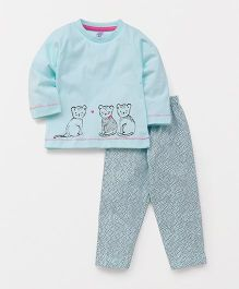 Pink Rabbit Full Sleeves Printed Night Suit - Light Blue