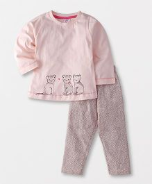 Pink Rabbit Full Sleeves Printed Night Suit - Light Pink