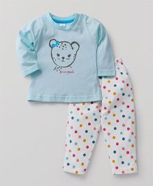 Pink Rabbit Full Sleeves Night Suit Dots Print - Light Blue