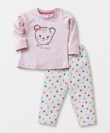 Pink Rabbit Full Sleeves Night Suit Dots Print - Light Pink