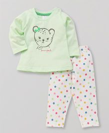 Pink Rabbit Full Sleeves Night Suit Dots Print - Light Green