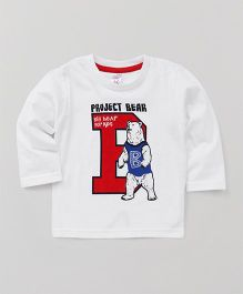 Pink Rabbit Full Sleeves T-Shirt Project Bear Print - White