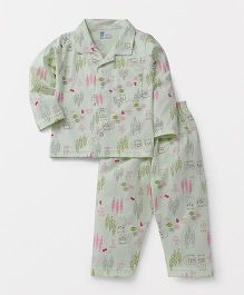 Pink Rabbit Full Sleeves Printed Night Suit - Light Green