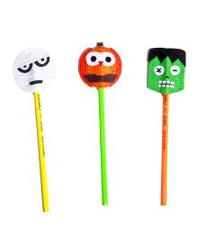 Li'll Pumpkins Halloween Set Of 3 Pencil Topper - Orange White & Green