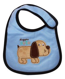 Babies Bloom Waterproof Saliva Bib Puppy Patch - Blue Black