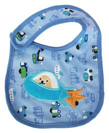 Babies Bloom Waterproof Saliva Bib Vehicle Print - Blue