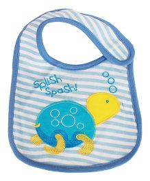 Babies Bloom Waterproof Saliva Bib Tortoise Patch - Blue
