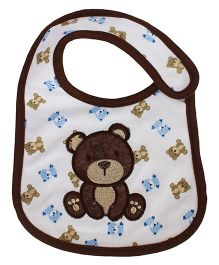 Babies Bloom Waterproof Saliva Bib Teddy Patch - Brown