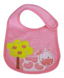 Babies Bloom Waterproof Saliva Bib Cow Patch - Pink