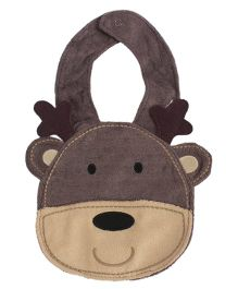 Babies Bloom Monkey Shape Waterproof Bib - Brown